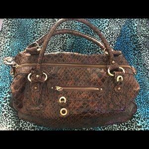 Jessica Simpson Brown Alligator Croc Handbag Tote